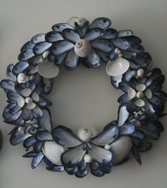 Coastal Shores Blue Mussell Shell Wreath Medium by nancylee97, $85.00