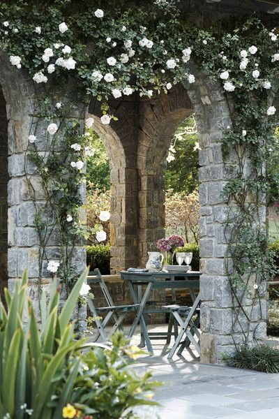Outdoor loggia ~ Jeff Herr Photography: Al Fresco Dining, White Rose, Outdoor Rooms, Stones Outdoor, Climbing Rose, Ana Rosa, Places, Outdoor Spaces, Interiors Gardens