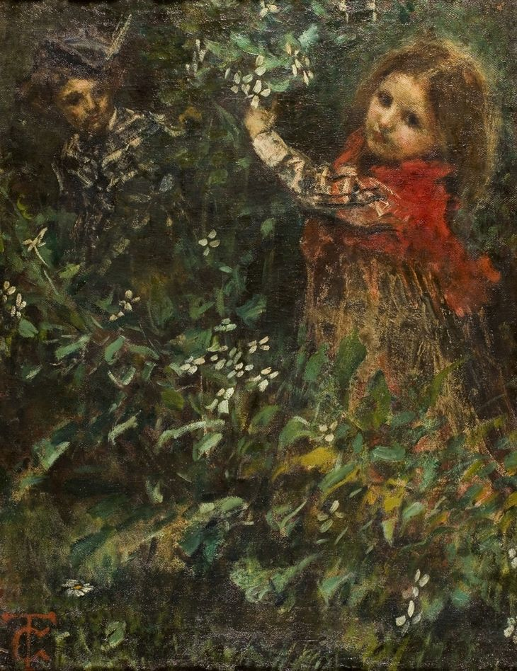 """Tranquillo Cremona (1837-1878)  """"Tra i fiori - Ritratti di bambini"""" 1871"""