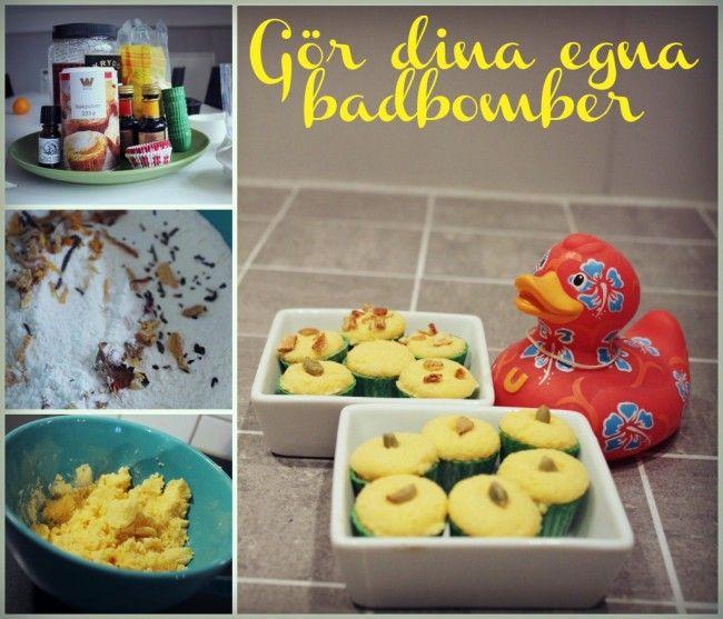 DIY- Recept: Bubblande badbomber, ca 20 st mindre. 0,6 dl citronsyra 1,2 bakpulver 0,8 dl majsstärkelse 0,3 dl strösocker några droppar karamellfärg  8-10 droppar parfymolja blandat i 1 msk vatten