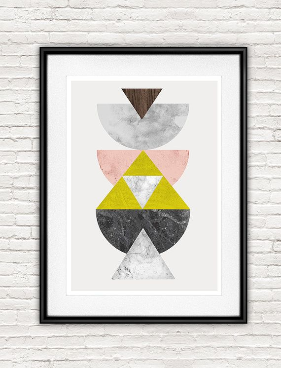 Watercolor art geometric poster abstract watercolor by handz