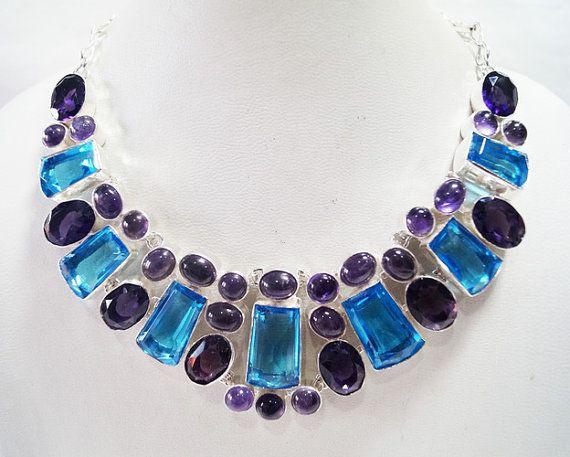 Genuine Amethyst  Blue Quartz necklace/ handmade by Mpoulitsa