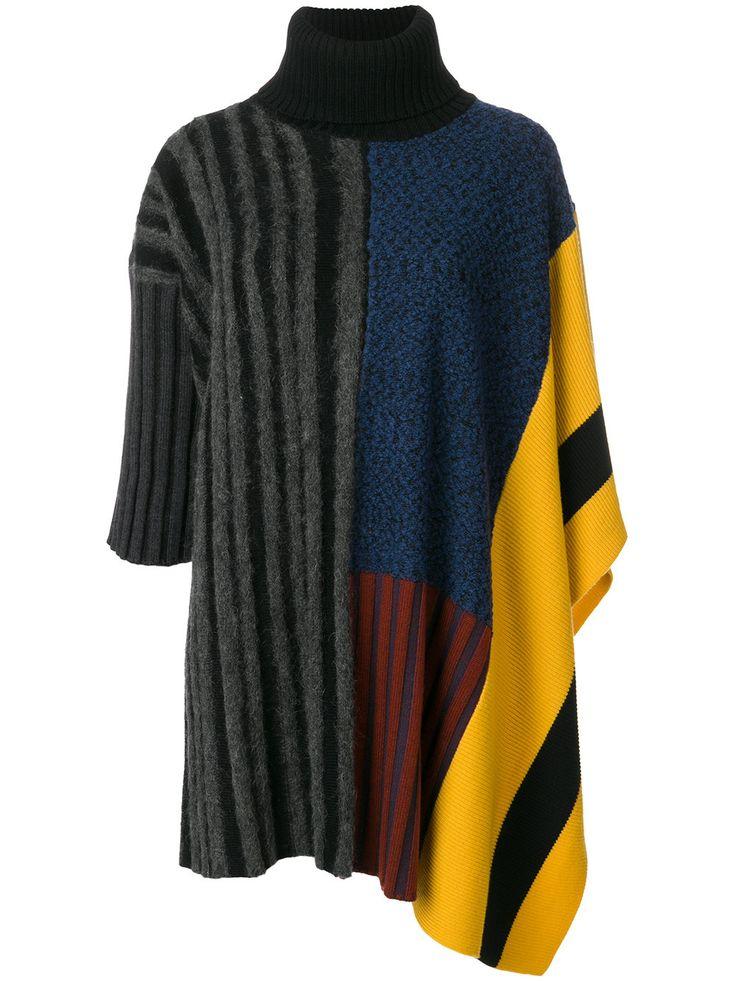 Kenzo asymmetric panelled poncho