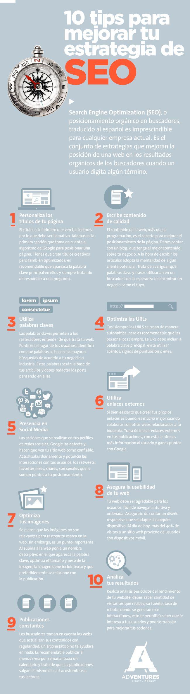 10 consejos para mejorar tu estrategia de SEO #infografia #infographic #seo