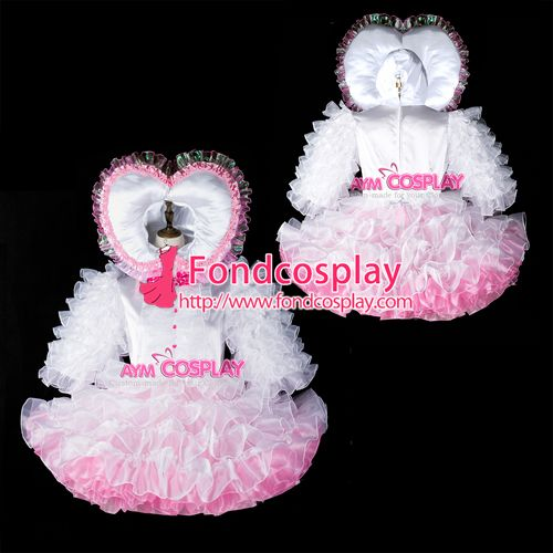 Adult baby sissy maid satin dress lockable Tailor-made[G2398]