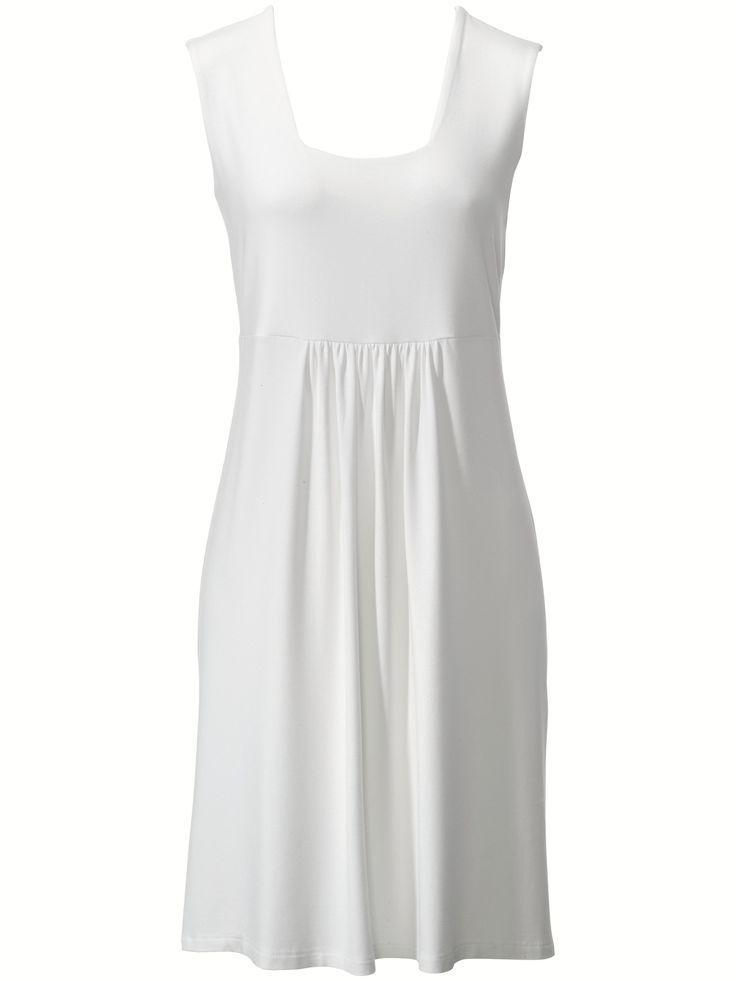 Leichtes Sommerkleid Karree-Ausschnitt Peter Hahn weiss Größe: 36