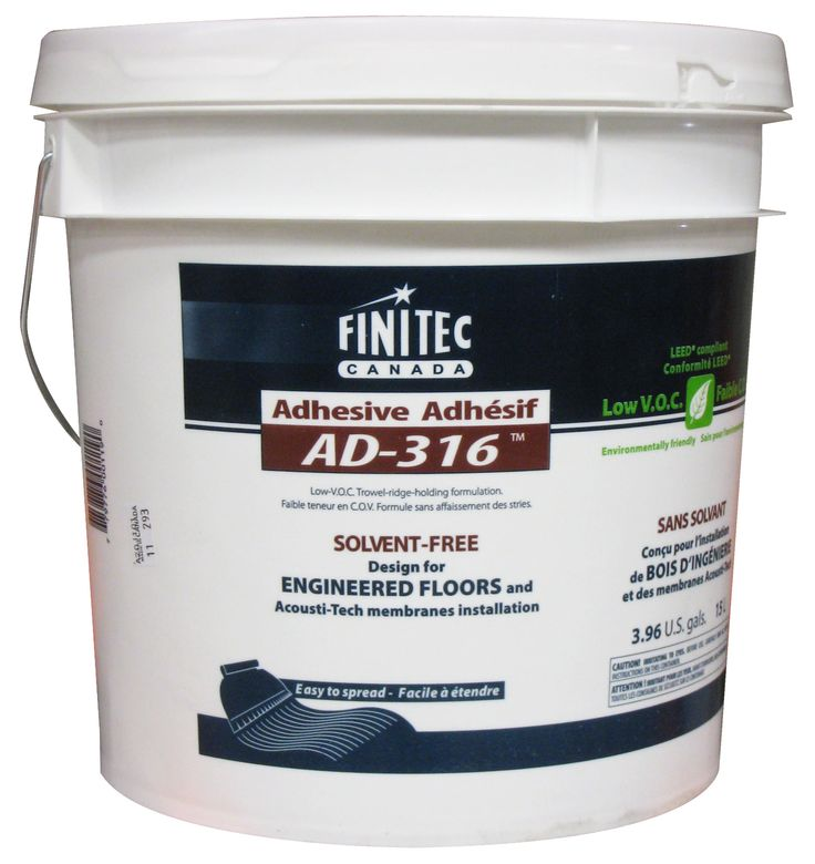 FREE SHIPPING! Adhesive AD-316 (4 gal.). This rubber-based adhesive is designed to glue acoustic membranes and engineered wood. Without solvent, it may be used in conjunction with any type of radiant system.