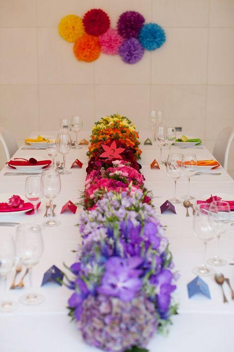 Rainbow centerpiece tablescape, William Clarke Flowers, Chanelle Segerius-Bruce