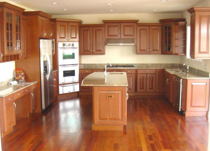 brazillian cherry floors and cabinets | Kitchen- Cherry cabinets, granite tops, Brazilian cherry floors, and ...