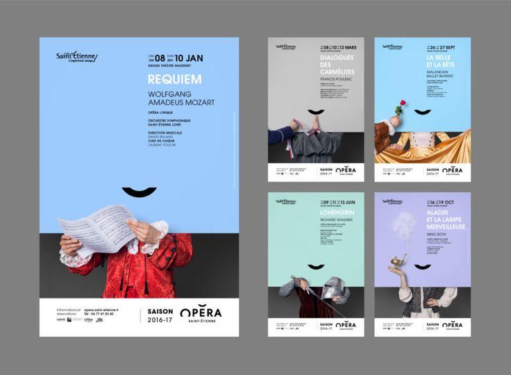 Opera House of Saint-Étienne. Brand design. Poster design.  Opéra de Saint-Étienne.  Identité visuelle 2016 Charte graphique affiches.  Minimalist. Mozart. Aladin.