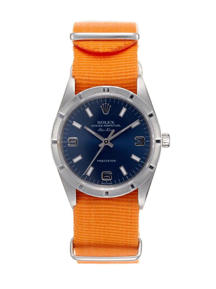 Rolex Air King. Orange NATO strap.