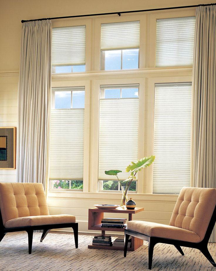 Say bye-bye to venetian blinds and hello to cellular shades. The answer to all of that hassle (i.e. strings and knotted tassle) comes by way of new honey-comb-inspired technology. Hunter Douglas Window Treatments available here at Details Interior Fashions, and in an assortment of colors and fabric! #littletonmainstreet #whitemountains #hunterdouglas