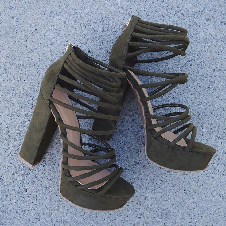 Loving ~olive~ the straps on these caged heels...