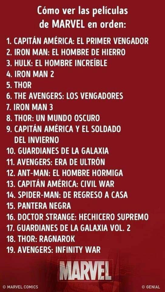 Como Ver Las Peliculas De Marvel En Orden Universo Marvel Marvel