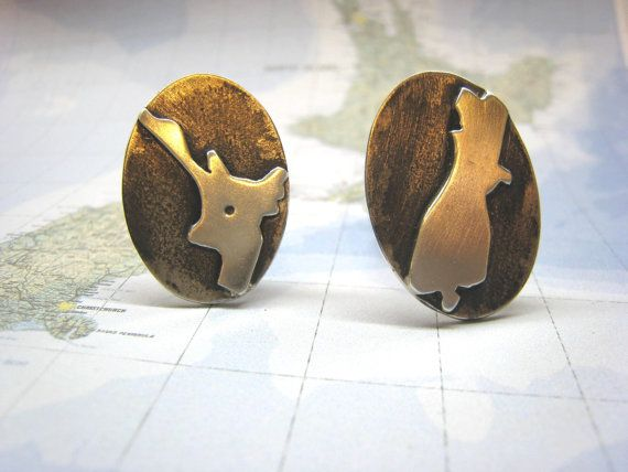 Sterling Silver Oxidised North and South Island New Zealand Cufflinks by ZaZing, NZ$120.00