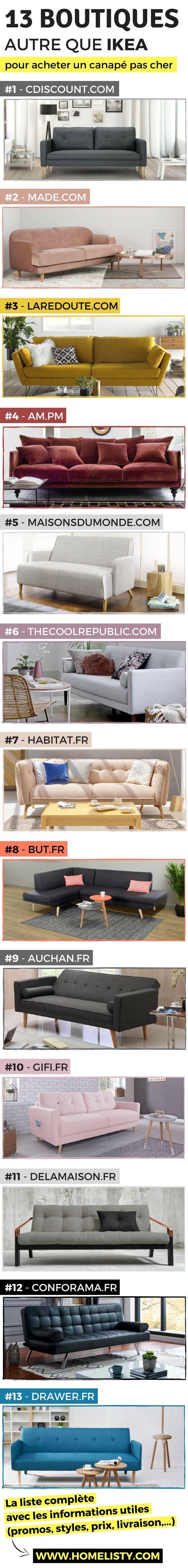 Vous cherchez un canapé pas cher ? Dans cette liste, j'ai regroupé 13 boutiques (autres que IKEA) à visiter pour enfin trouver un canapé tendance au meilleur prix !