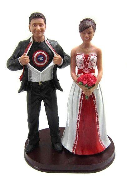 Captain America Groom Wedding Cake Topper