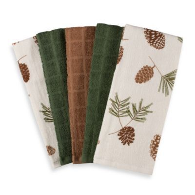 Best Pine Cone Print And Solid Pack Of Terrycloth Kitchen Towels U Cotton  With Pinecone Kitchen Accessories