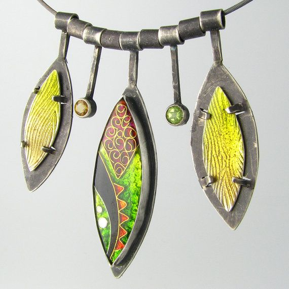 Green Cloisonne Necklace Charms Oxidized Sterling Silver Enamel 'Red Dragon Tail'