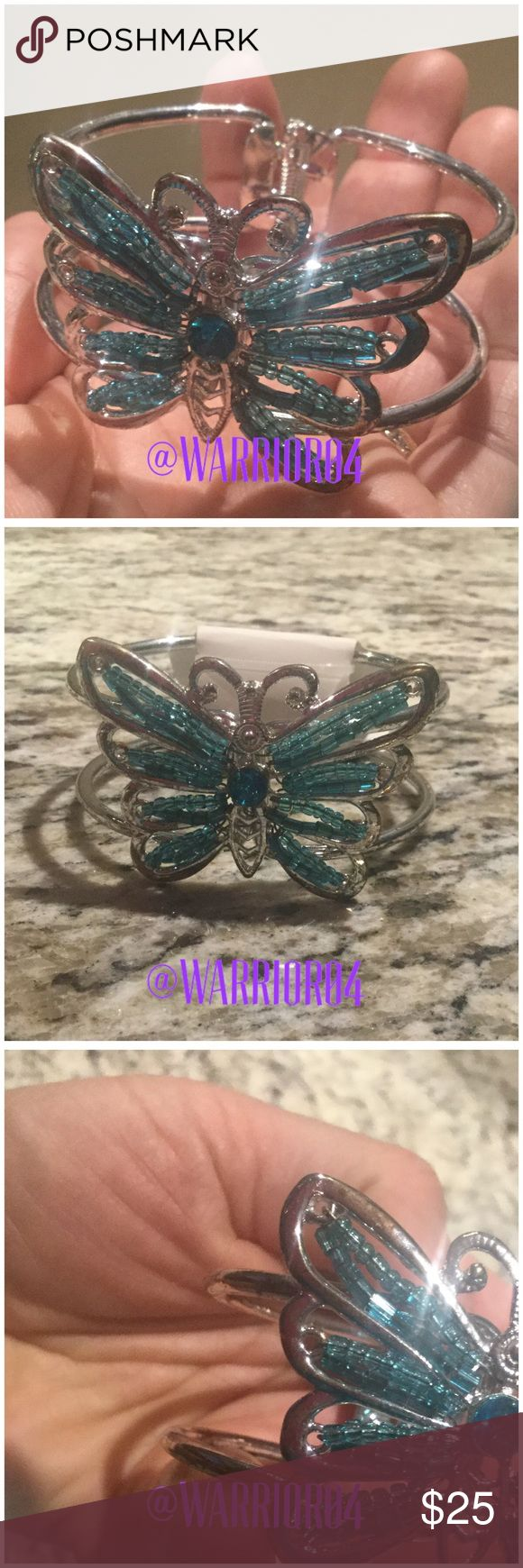Blue Butterfly Hinged Bracelet Fashion Heart Bracelet New sparkly silver with turquoise beads Jewelry Bracelets