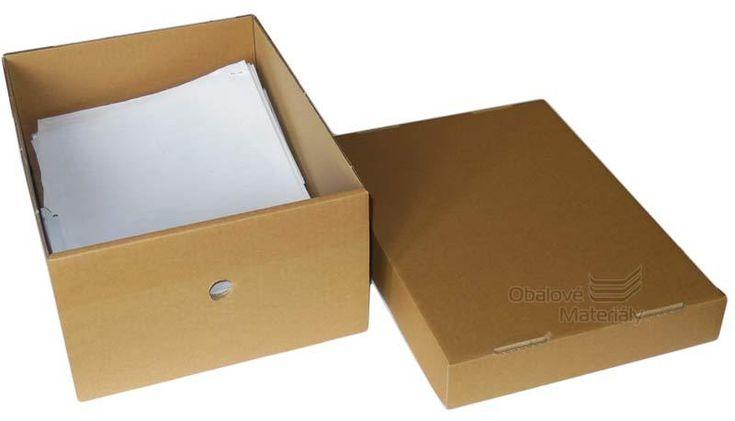 Archivační krabice s víkem, 327x250x150 mm - Obalové Materiály