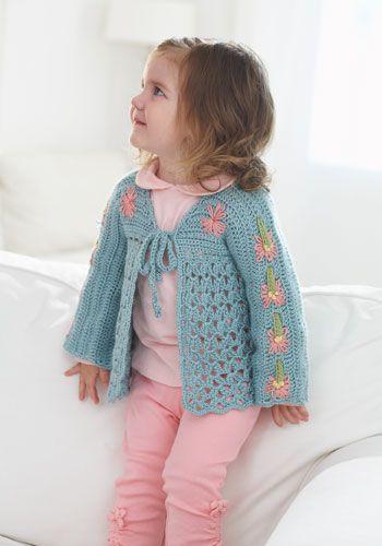 Vine Hill Toddler Cardigan - free crochet pattern from Caron