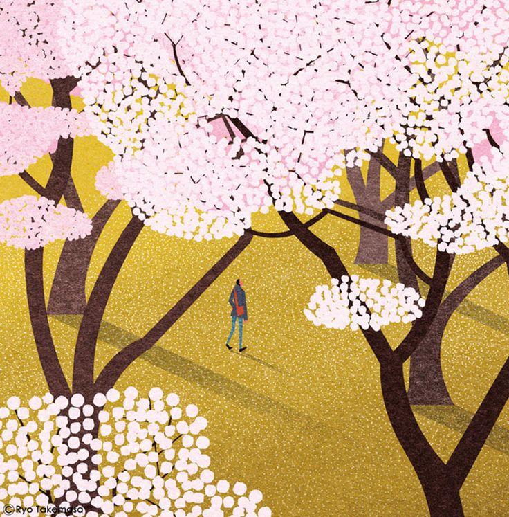 illustrazioni ryo takemasa paesaggio giapponese