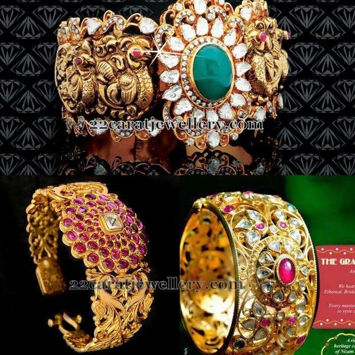 Filigree and Polki Broad Kada Designs - Jewellery Designs