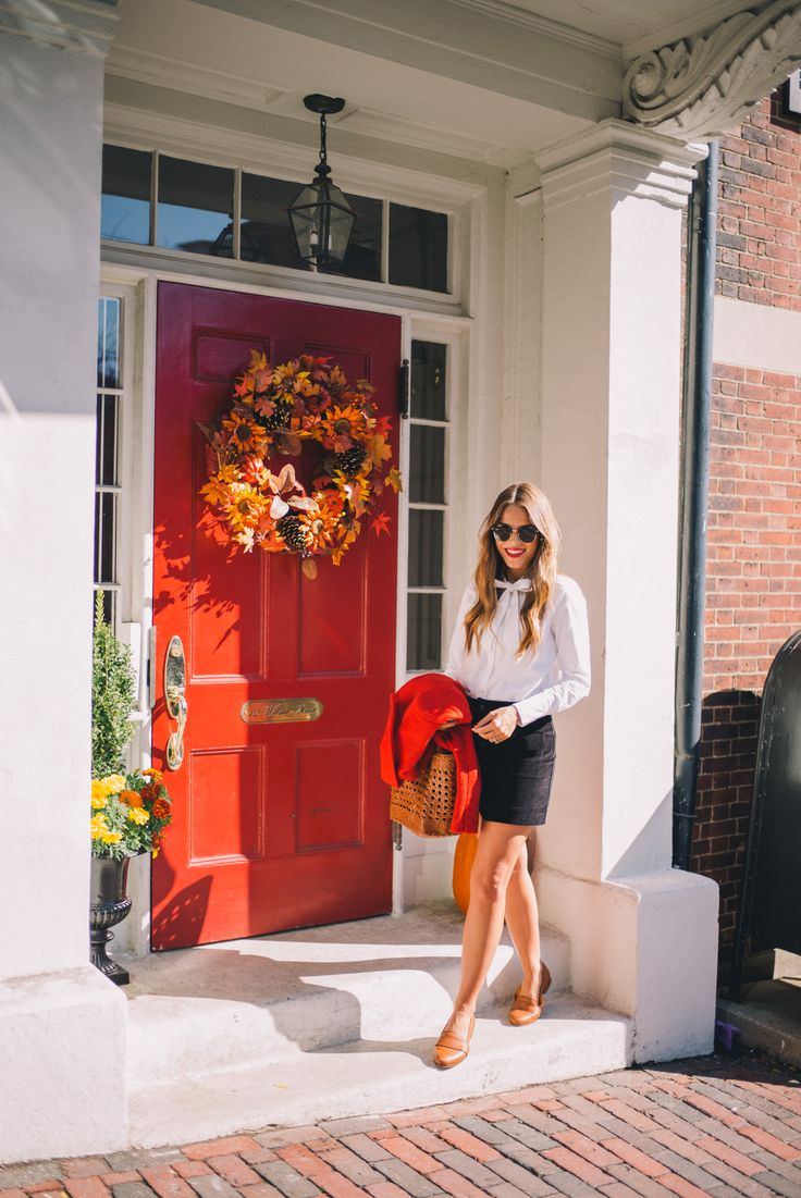 """Gal Meets Glam Fall In Boston -Sezane jacket, shirt, skirt & loafers, Dragon Diffusion tote & Laura Mercier lipstick in """"Foreplay"""""""