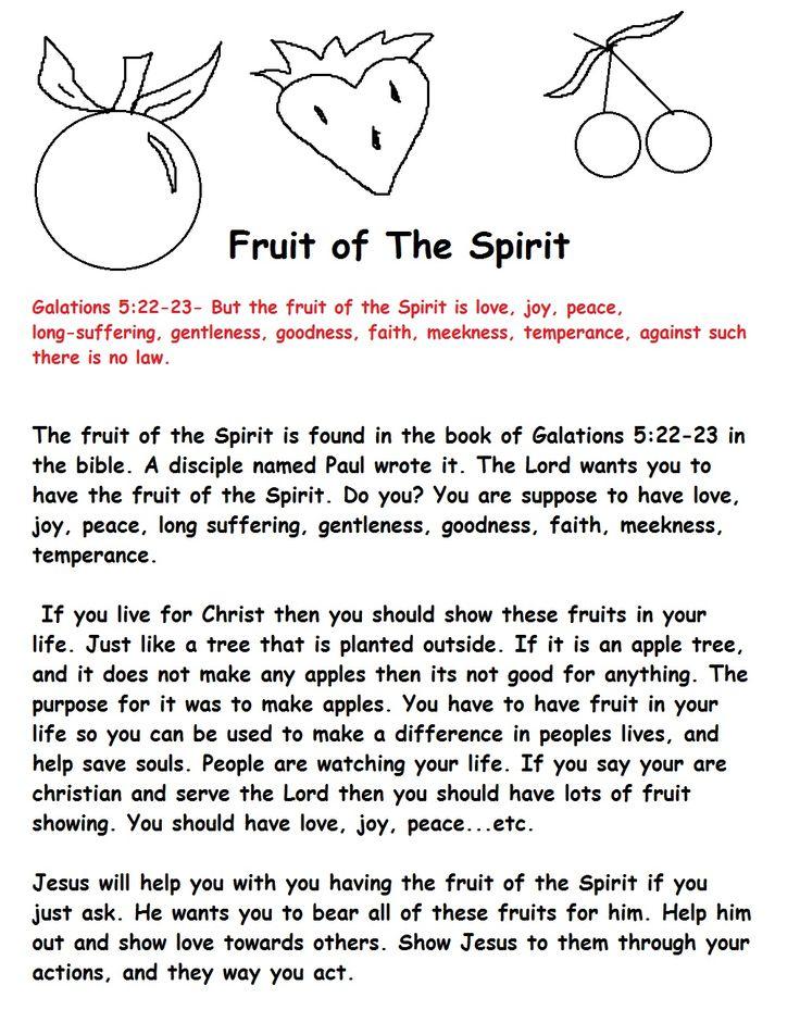 fruit of the spirit for kids | Fruit of The Spirit Sunday School Lesson