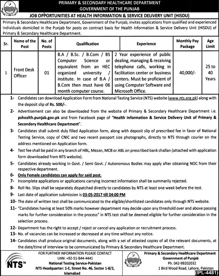 PRIMARY & SECONDARY HEALTHCARE DEPARTMENT GOVERNMENT OF THE PUNJAB JOB OPOORTUNITIES Ai HEALTH INFORMATION & SERVICE DELIVERY UNIT (HISDU) Prirn ry & Secondary Healthcare Department Government of the Punjab invites applications from qualified and experienced indiv'duals domicilod in the Punjab for posts on contram basis for Health Information & Service Delivery Unit (HISDU) of Primary & Secondary Healthcare Department. Name of the '''' Post No. of Posts Qualification Experience Monthly Pay…