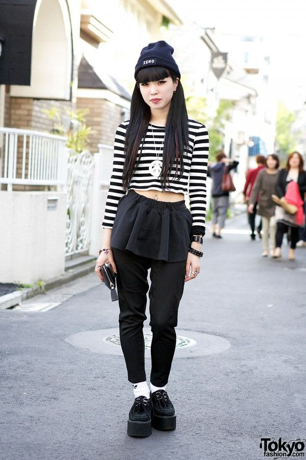 Hikari is a staffer at the super-hip Harajuku boutique Nadia. Her outfit features a crop top (trendy this summer), peplum pants & creepers. Accessories are from Bubbles & Alice Black.