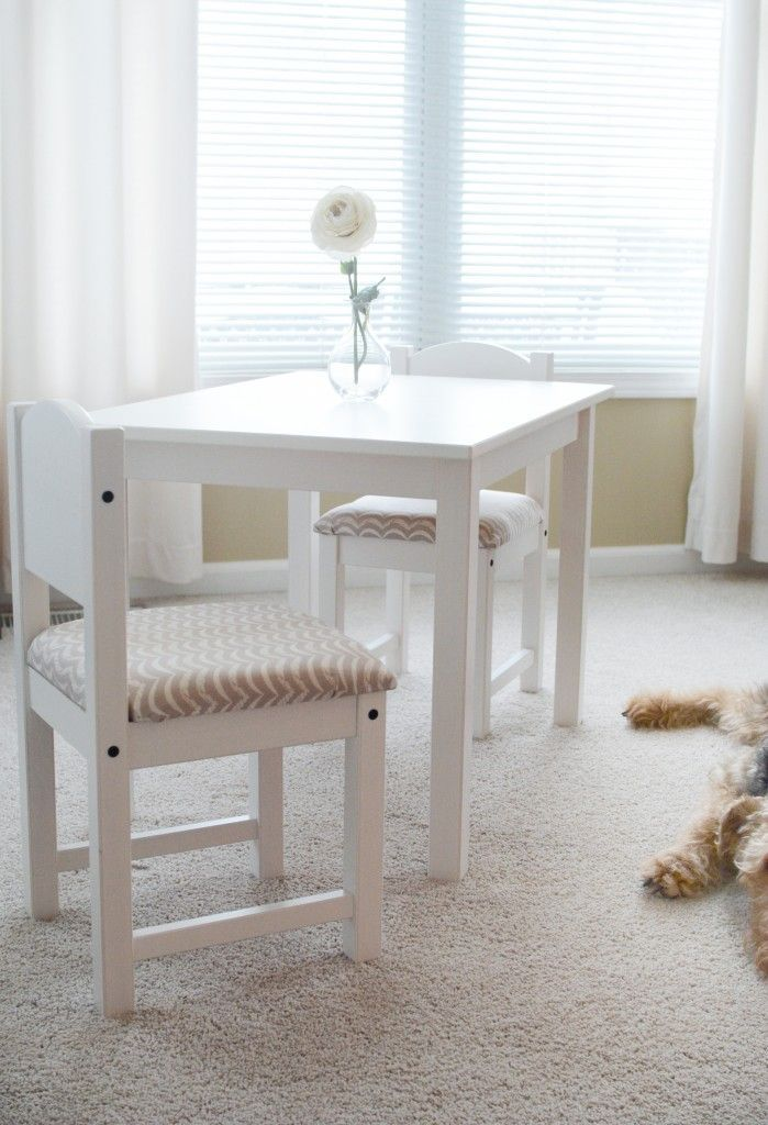 Ikea Hack Sundvik Children S Table And Upholstered Chairs On Morethanmacaron Com Kids Table And Chairs Ikea Childrens Table Toddler Table And Chairs