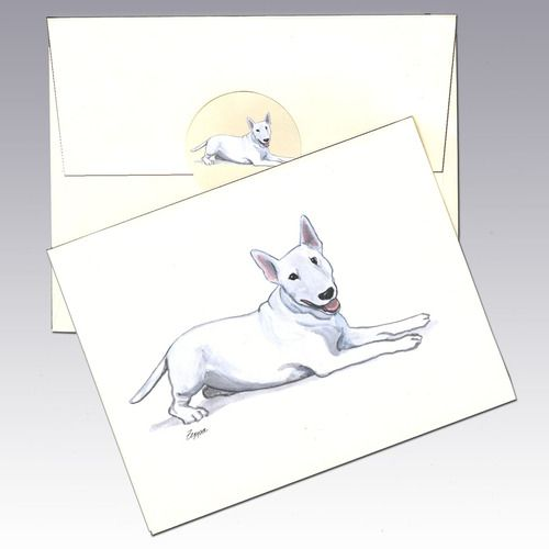 Bull Terrier Note Cards - The Bull Baiting Crowd wasn't satisfied with just Bull Dogs...it crossed them with different Terriers to make exceptional Bull Fighting dogs.  The original Bull Terrier looked much like modern day pit bulls.  Breeding after the belated fall of bull baiting led to the current Bull Terrier (available in two sizes)...represented by the beloved Spuds Mackenzie (brought to you by Budweiser) and the Target dog...I think that bullseye is painted on...don't you?