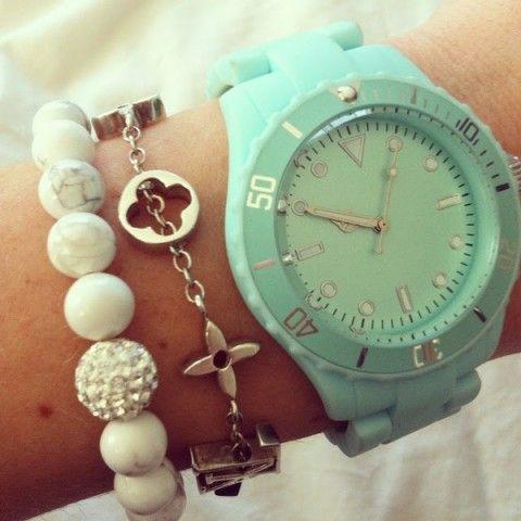 Aqua wrist candy.