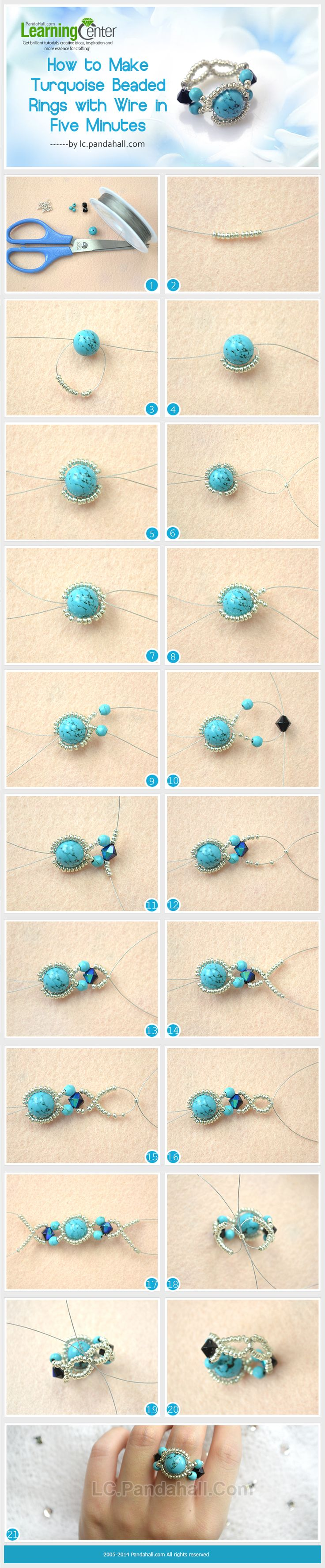 Anillo con esferas de turquesa, cristal y mostacillas con alambre. Ensayar