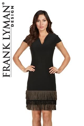 Cute little black dress with gold fringed hem detail. Proudly Made in Canada