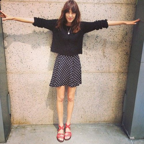 alexa Chung, spotty skirt, polka dot, jumper, summer, fashion, style