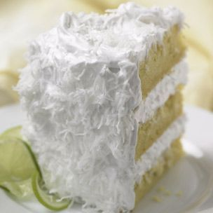 coconut lime cake: ingredients: for the cake:        3 1/4 cups cake flour      1 Tbs. baking powder      3/4 tsp. salt      1 3/4 cups milk      1 Tbs. vanilla extract      16 Tbs. (2 sticks) unsalted butter      2 cups sugar      1 Tbs. finely chopped lime zest      4 eggs    For the frosting:        4 egg whites      1 1/3 cups sugar      1/2 cup light corn syrup      1/8 tsp. salt      1 tsp. vanilla extract      2 1/2 cups sweetened shredded coconut
