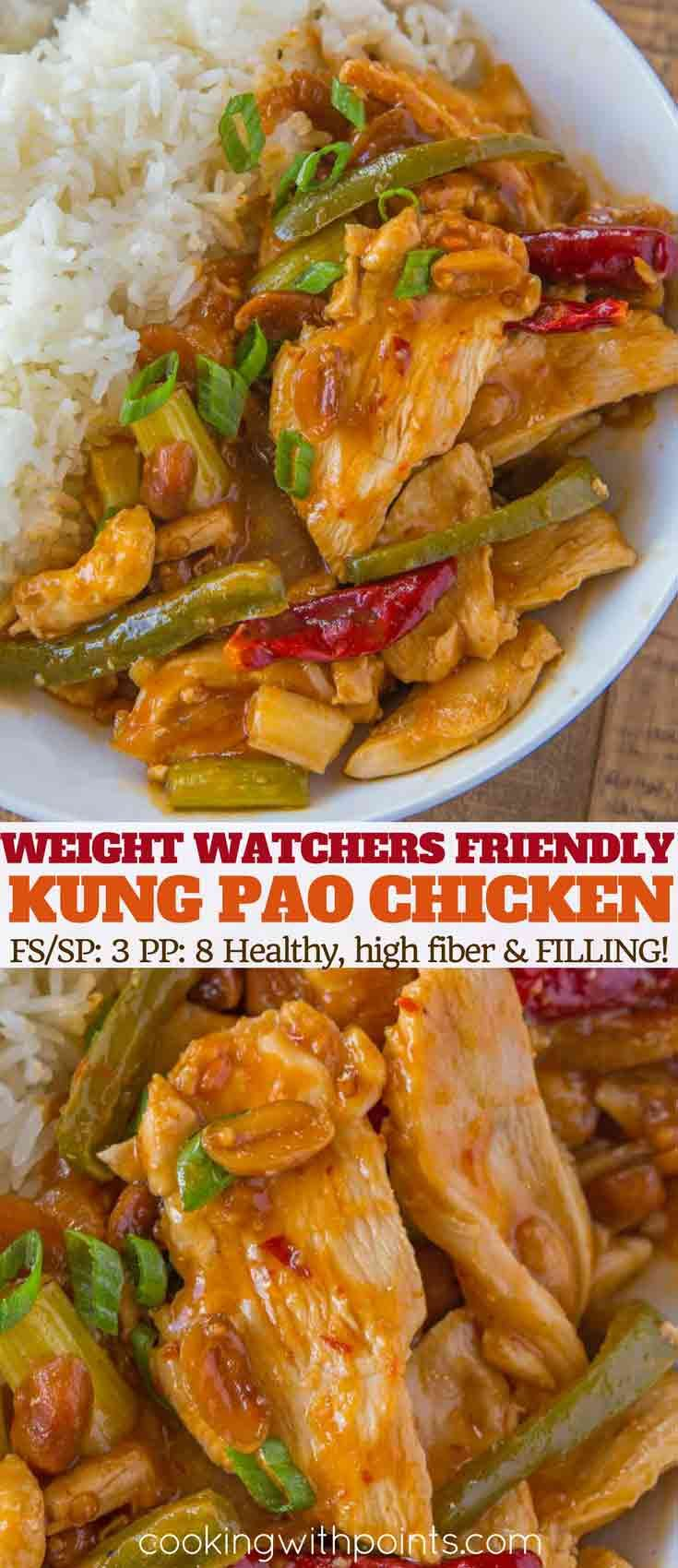 Skinny Kung Pao Chicken made in less than 30 minutes with chicken breast, bell peppers, peanuts and a slightly spicy garlic sauce for just 3 smart points per serving.