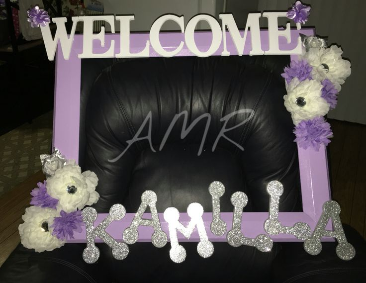 Baby shower picture frame. Big picture frame prop for girl baby shower. Girly lavender and white shower.