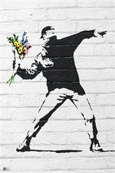 Banksy Molitov Flowers Graffiti Street Art Poster