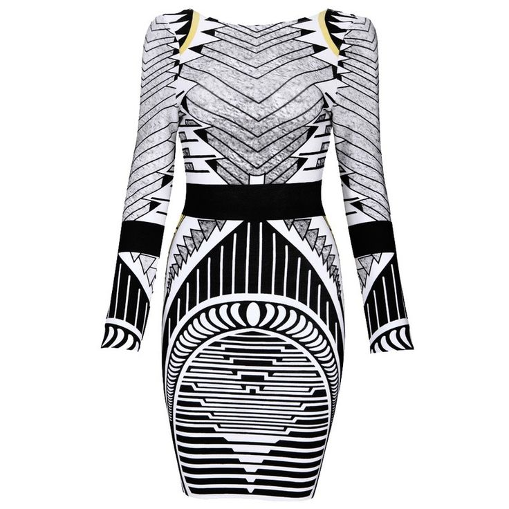 Khloe+Tribal+Luxe+Bandage+Dress+-+Be+the+centre+of+attention+in+the+heavily+printed+beauty!  Our+Luxe+Bandage+Dress+Khloe+Long+Sleeve+Backless+Tribal+Bodycon+Dress+highlights+your+curves+with+its+gorgeous+tribal+design+and+super+sexy+deep+v+back.  Length:+Approx+34+inches…