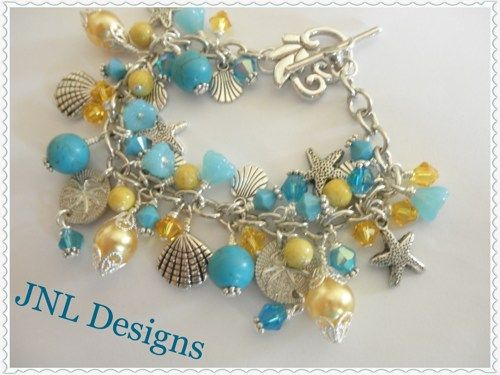 Turquoise and Yellow Beach Theme Charm Bracelet | jnldesigns - Jewelry on ArtFire