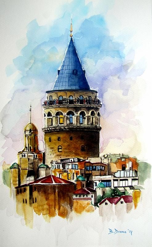 Galata Tower 2 original watercolor painting, by Berrin Duma.