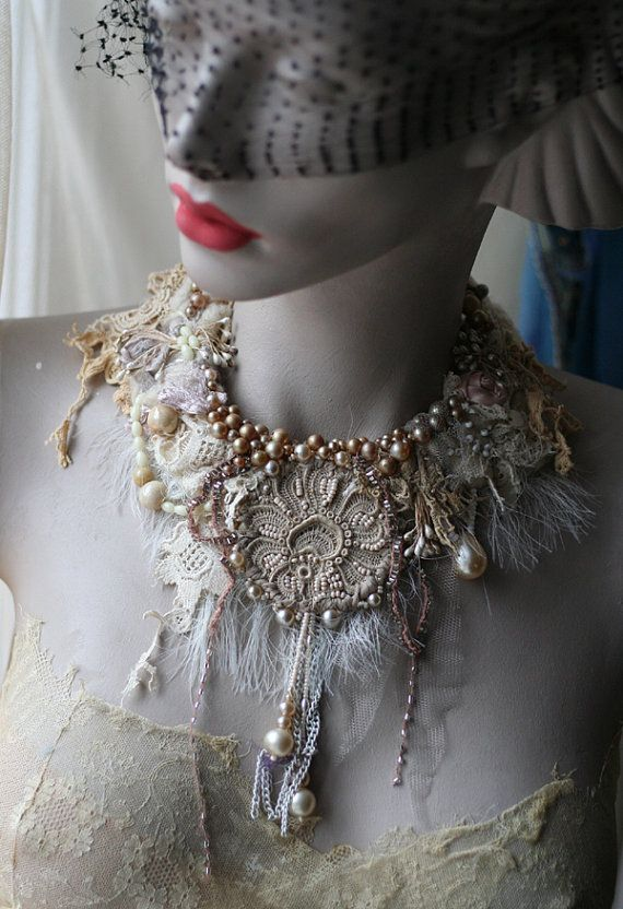 White magic-- delicate, bold, rustic, tribal influenced necklace from vintage and antique textiles, mohair and silk