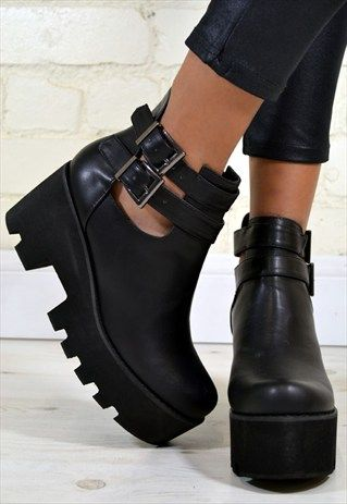 "Rock these chunky platform ankle boots featuring cut out sides and double buckle design. Heel Height:3 inches, Platform Height: 1.5 inches.  Size: True UK size. Material: Quality synthetic. DELIVERY:(working days) If they occur, custom and tax charges are not included. We combine postage so be sure to check out our storefront to see our full range of items! Please don't forget to ""follow"" our boutique to keep updated with our new designs! Thank you x"