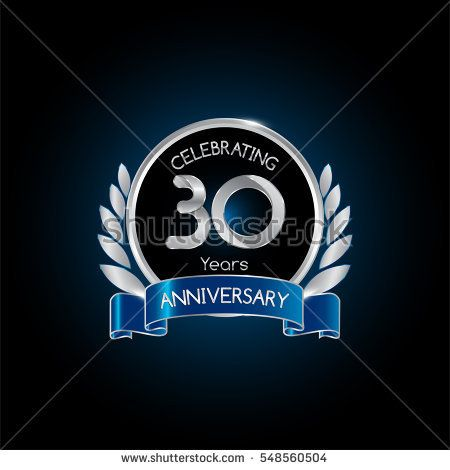 30 years silver anniversary celebration logo with blue ribbon , isolated on dark background