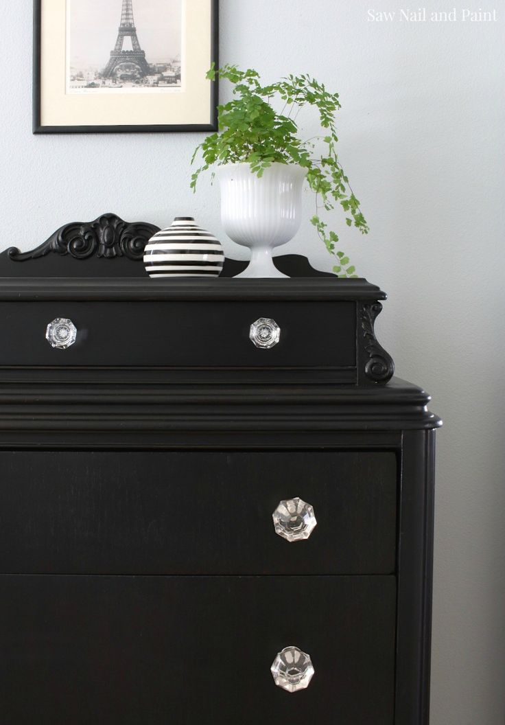 Vintage Dresser in Lamp Black I've done this with a dresser and sofa table, I love the knobs with the black.