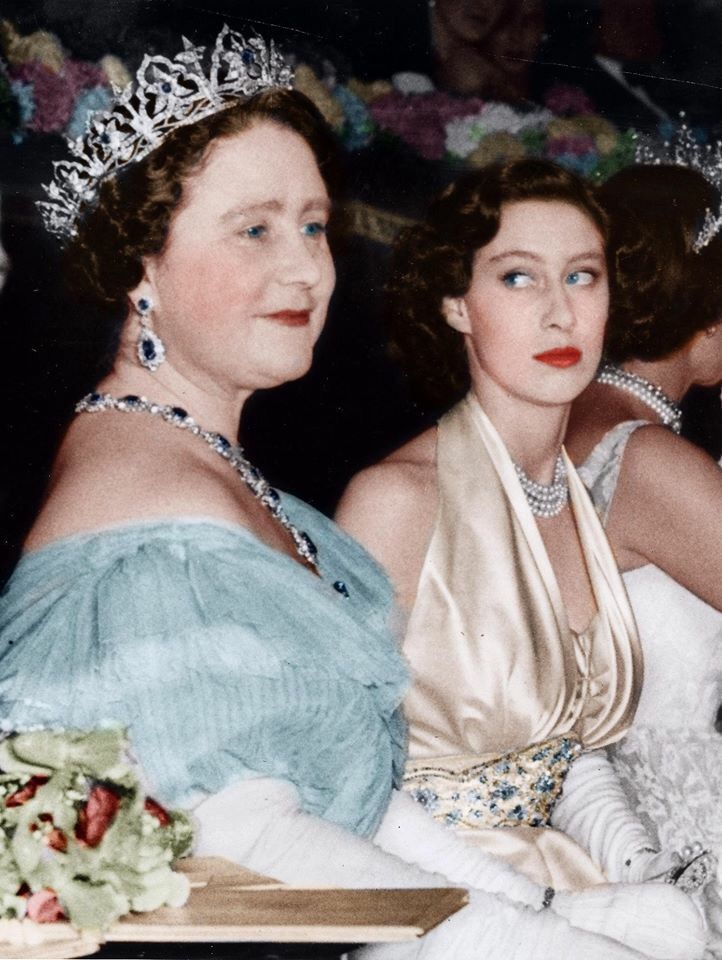 """Queen Mother and Princess Margaret, September 1951.........IS PRINCESS MARGARET ROSE EYEING THAT TIARA ON HER GRANDMOTHER""  The queen was Margaret's mother."